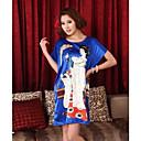 Atractivo de las mujeres de cuello redondo manga corta camisón Modelo impreso