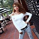 Blanco de la Mujer Zoey del hombro manga larga blusa