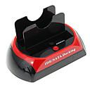 """CP-875D-J All-in-1 2.5 """"3.5"""" IDE / SATA Docking / eSATA HDD con lector de tarjetas (Rojo y Negro)"""
