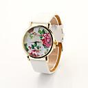 Mujeres Cdong Reloj Dial Floral (Blanco)