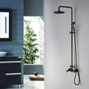 Tub Shower Faucet Antique Brass with 8 inch Shower Head and Hand Shower