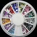 200 piezas Nail Wheel 2mm Arte Glitter Consejos Rhinestone Decoraciones