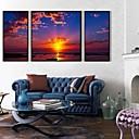 El sol poniente es bella Framed Canvas Juego de 3