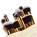 10PCS Makeup Brushes Set Pink/White/Black Powder Blush Eyeshadow Brush Gold/Silver Tube with Draw String Bag