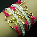 European Heart 18cm Womens Rose Leather Wrap Bracelet(Random Color)