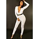 Atractiva de las mujeres blanca de manga larga de V profundo Pantalones Night Club mono delgado