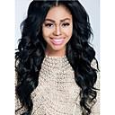 18inch Para Mujeres afroamericanas Medio Parte ondulada brasileña del pelo de Remy pelucas Glue Menos del frente del cordón de la peluca # 1B