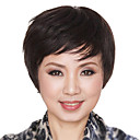 10 Inch European Style Short Curly Black Human Hair Wigs Side Bang