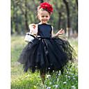 vestido de la muchacha del vestido del tutú del vestido de bola bateau raso té de longitud de tul y / flor con flor