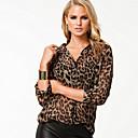 camisa de gasa de leopardo estilo de la ciudad de las mujeres