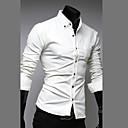 Color sólido Fengshang Hombre Nuevo estilo simple camisa de ocio de manga larga Blanco