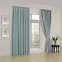 (Two Panels) Modern Classic Sky Blue Solid Blackout Curtain
