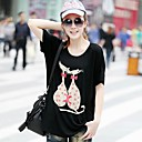 Womens   Loose Big Yards Short Sleeve T-Shirt Modal Stretch  Two Cats T-Shirt