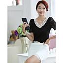 Womens Lace Chiffon Loose  Short Sleeve Blouse