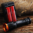 1set 1800LM Tactical Zoomable del CREE XM-L T6 LED 18650 de la linterna de la antorcha de luz de la lámpara Zoom  2 x 18650 batería  cargador