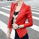 Fashion Solid Color PU Leather Jacket