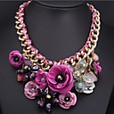 Womens European and American Colored Gemstone Flower Pendant Necklace