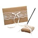 Blanco encajes y lazos de la boda libro de visitas y Conjunto de lápiz