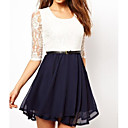 Women's Summer Europe Lace Chiffon Casual Dress with Belt
