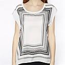 2014 Street Style moda sueltas líneas negras plazas de manga corta T-shirt