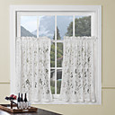 "Country Elegant Floral White Lace Tier Kitchen Curtain Set - 2 pcs, 54 x 26""L"