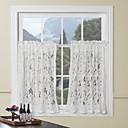 """País elegante Tier cordón floral blanco Cocina Curtain Set - 2 piezas, 54 × 26 """"L"""
