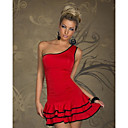 Lightinthebox ES  YASHI Estilo Europeo contraste atractivo color Ruffle Dress Hem (rojo)