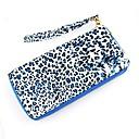 2014 diseño de moda del leopardo del estilo exquisito cremallera cuero de la PU Wallet