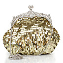 Womens Fashion Pure Color Sequined  Evening Bag
