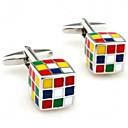 Fashion Mens Silver Copper Rubiks Cube Cufflinks (Silver)(1 Pair)