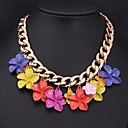 Womens New Senior Alloy Color Flower Necklace