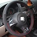 Cubierta del volante Xuji ™ genuino del ante de cuero para Volkswagen Golf 6 Mk6 VW Polo Bora Sagitar Santana Jetta