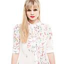 Mariposa de la Mujer AMC impresión floral de la solapa de la gasa del cuello de la envoltura de la blusa