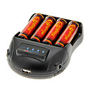 TrustFire 3000mAh 18650 Battery(4pcs) w/ Overcharge ProtectionTrustFire TR-009 Battery Charger