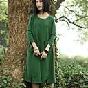 Xianran Womens Original Design Vintage Style Casual Loose Waist Straight Midi Dress