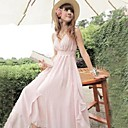 Women's V Neck Backless Solid Color Bohemian Chiffon Maxi Dress