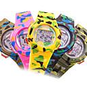 Childrens LCD Round Dial Rubber Band Quartz Analog Sport Watch (Random Style)