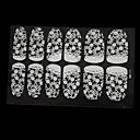 12 PCS Full Cover 3D Lace Leaves Pattern Nail Wrap Stickers with Rhinestone