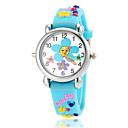 Children's Lovely Flower Pattern Flashlight LED Light Silicone Band Quartz Wrist Watch (Assorted Colors)