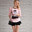 Pink Doll Womens Round Collar Long Sleeve Cartoon Doll Pattern T Shirt
