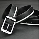 Men's Genuine Leather Belt White Black Pin Buckle Belts for Men