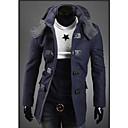 GMIG Mens Long Sleeve Slim Double-Breasted Tweed Hoodie Overcoats