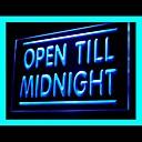 abierto hasta la medianoche de publicidad llevó la muestra de la luz