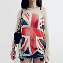 Womens British Flag Thin Loose Pullover Sweaters