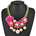 Yumfeel Womens Occident Style Rose Decoration Pearl Necklace