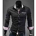 Hengyi Mens Lapel Neck Check Long Sleeve Shirt