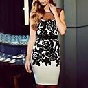 Womens Round Print Patchwork Sheer Pencil Dress