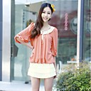 Women s Contrast Peter Pan Collar Pleated Front Cute Half Lantern Sleeves Regular Fit Chiffon Blouse