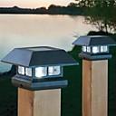 2 llevó la gorra blanca de post solar luz valla cubierta de montaje de la lámpara cerca del jardín al aire libre