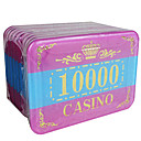 10.000 bloqueo de oro corona redondeada mahjong conjunto de chips con el signo de la anti-falsificación
